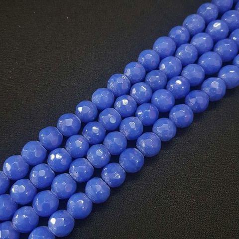 10mm Blue Jade Faceted Beads, 2 Strings, 35+ Beads In Each String