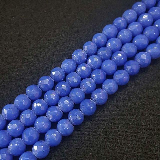 10mm Blue Jade Faceted Beads, 2 Strings, 35+ Beads In Each String