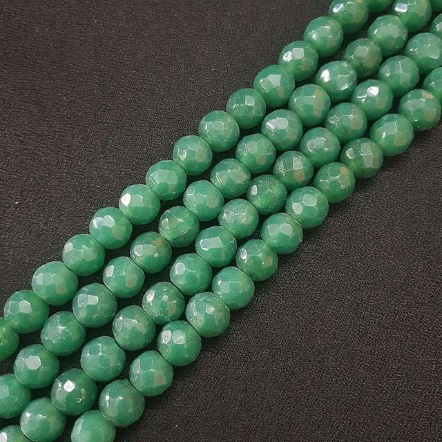 10mm Green Jade Faceted Beads, 2 Strings, 35+ Beads In Each String