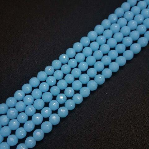 8mm Blue Jade Faceted Beads, 2 Strings, 43+ Beads In Each String