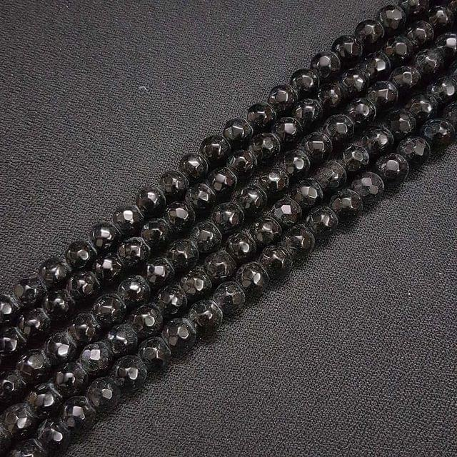 8mm Black Jade Faceted Beads, 2 Strings, 43+ Beads In Each String