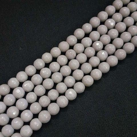 8mm Grey Jade Faceted Beads, 2 Strings, 43+ Beads In Each String