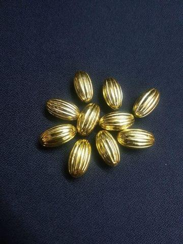 40 Pcs, Light Weight Golden Color Brass Beads, 22x12 mm