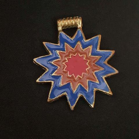 Blue Brown Colour Brass Metal Pendant, 2.5 Inch