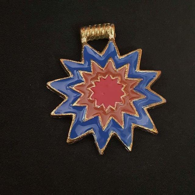 KTC, Blue Brown Colour Brass Metal Pendant, 2.5 Inch