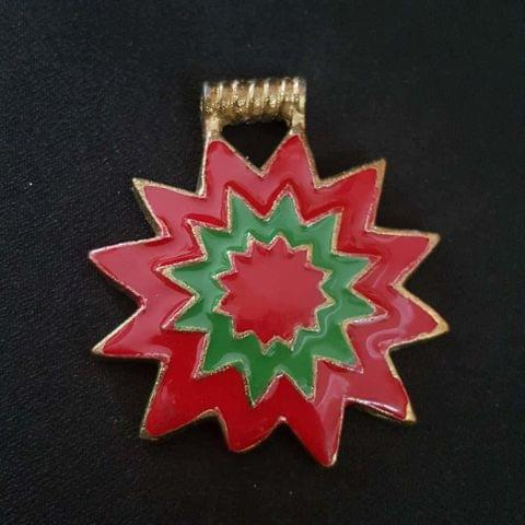 Red Green Colour Brass Metal Pendant, 2.5 Inch