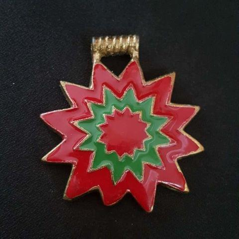 KTC, Red Green Colour Brass Metal Pendant, 2.5 Inch