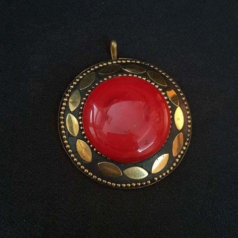 KTC, Red Colour Brass Metal Tibetan Pendant, 2.25 Inch