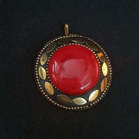 Red Colour Brass Metal Tibetan Pendant, 2.25 Inch