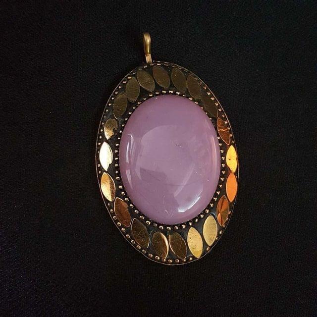 KTC, Baby Pink Colour Brass Metal Tibetan Pendant, 2.75 Inch,2 pendant