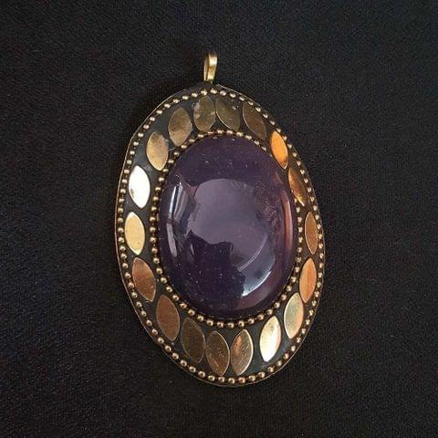 KTC, Purple Colour Brass Metal Tibetan Pendant, 2.75 Inch, 2 pendant