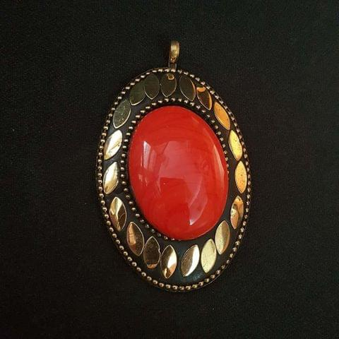 KTC, Orange Colour Brass Metal Tibetan Pendant, 2.75 Inch, 2 Pendant