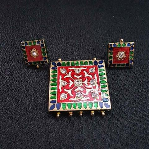 Traditional Red Meenakari Pendant With Combo Earring, Pendant- 1.75 inch, Earring- 0.75 inch