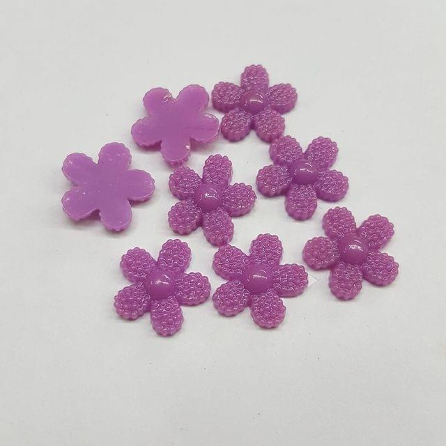 Purple, Acrylic Flower 12mm, 100 pcs