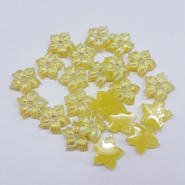 Yellow, Acrylic Flower 11mm, 50 Pieces