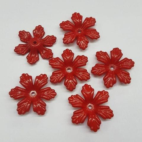 Red, Acrylic Flower 28mm, 100 Pieces