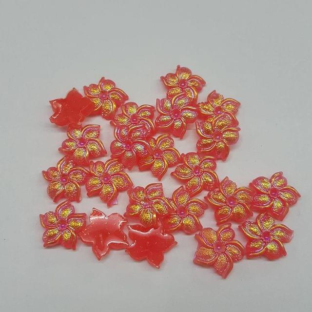 Red, Acrylic Flower 11mm, 100 Pieces