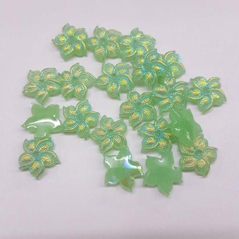 Green, Acrylic Flower 11mm, 100 Pieces