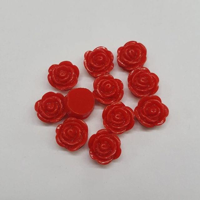 Red, Acrylic Roses 10mm, 100 pcs