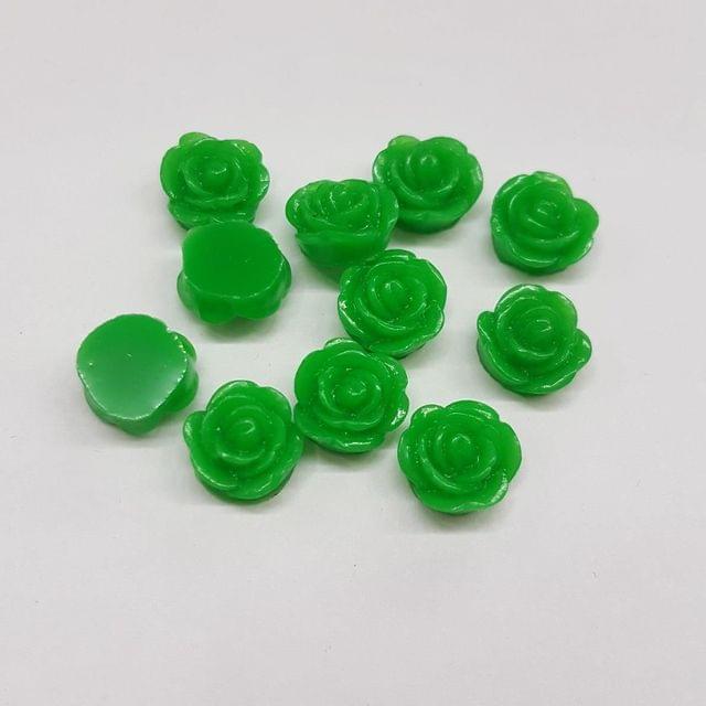 Green, Acrylic Roses 10mm, 100 pcs
