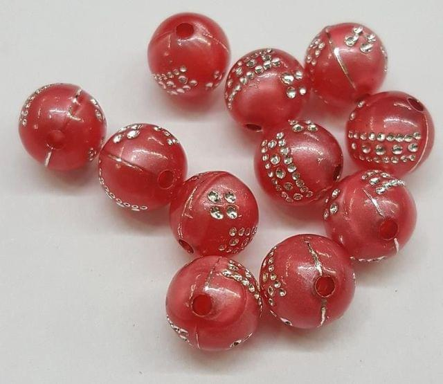 Red, acrylic round beads 8mm, 100 pcs