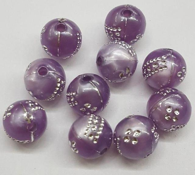 Purple, acrylic round beads 8mm, 100 pcs