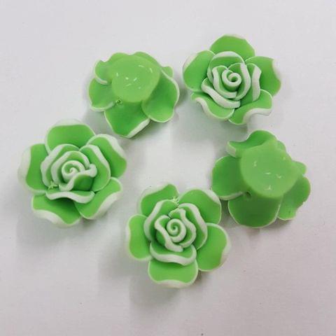 Parrot Green, Rubber Flowers 20mm