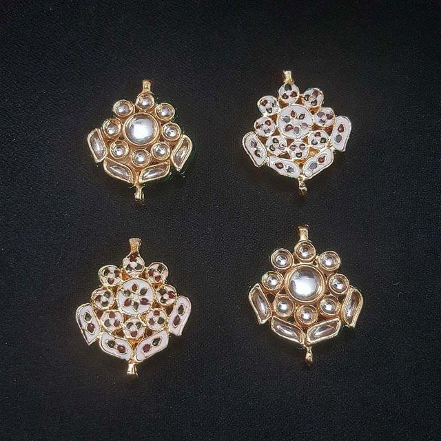 4 pcs, Kundan Beads Golden Spacers