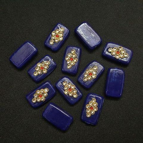 12 pieces, Dark Blue Kundan Stone Beads By KTC, 26x16 mm
