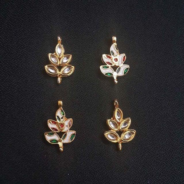 2 pcs, Kundan Beads Golden Spacers