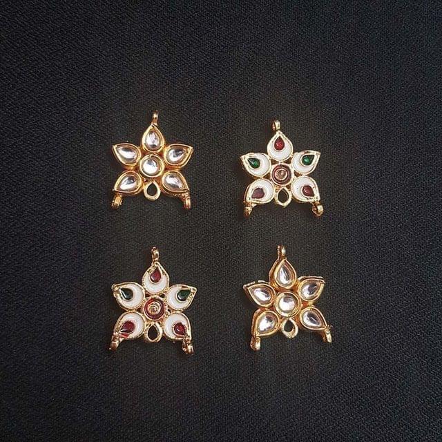 4 pcs, Kundan Beads Golden Spacers