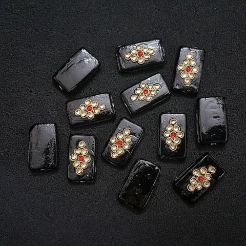 12 pieces, Black Kundan Stone Beads By KTC, 26x16 mm