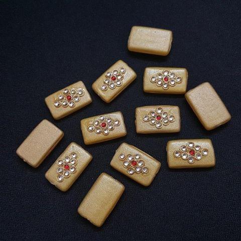 12 pieces, Golden Kundan Stone Beads By KTC, 26x16 mm