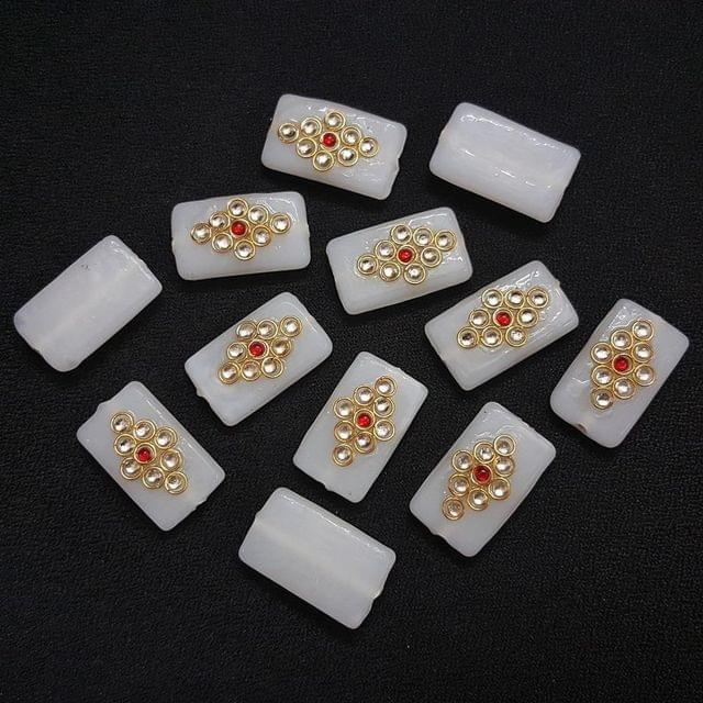 12 pieces, White Kundan Stone Beads , 26x16 mm