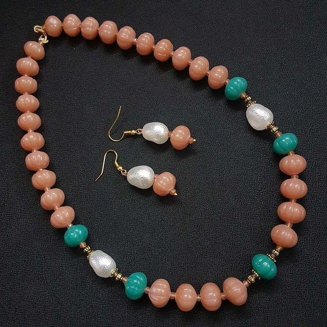 Peach Kharbooja Beaded Necklace With Earrings For Girls / Women