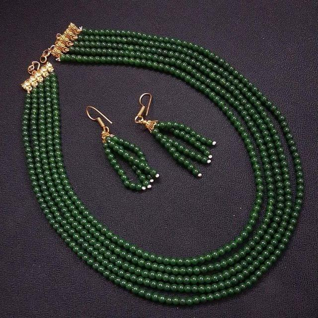 Dark Green Small Beaded Five Layered Necklace With Earrings For Girls / Women