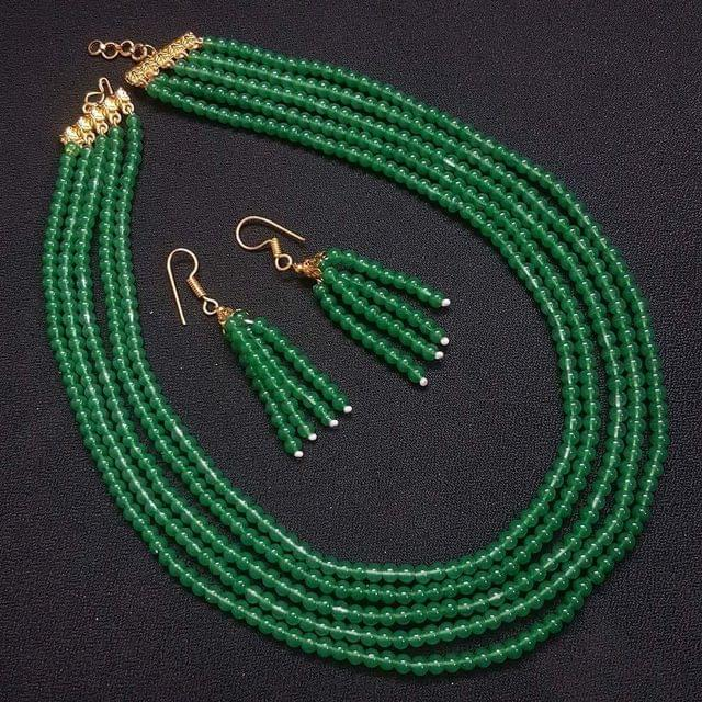 Green Small Beaded Five Layered Necklace With Earrings For Girls / Women