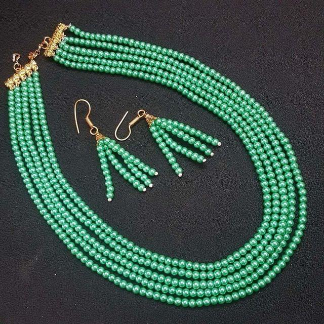 Green Metalic Small Beaded Five Layered Necklace With Earrings For Girls / Women
