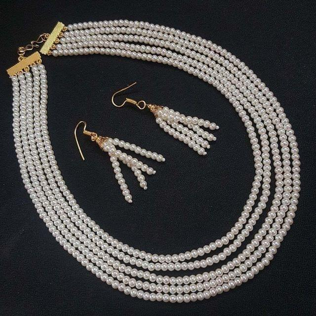 Motti Small Beaded Five Layered Necklace With Earrings For Girls / Women