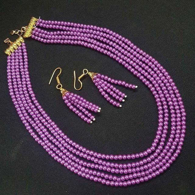 Metalic Purple Small Beaded Five Layered Necklace With Earrings For Girls / Women