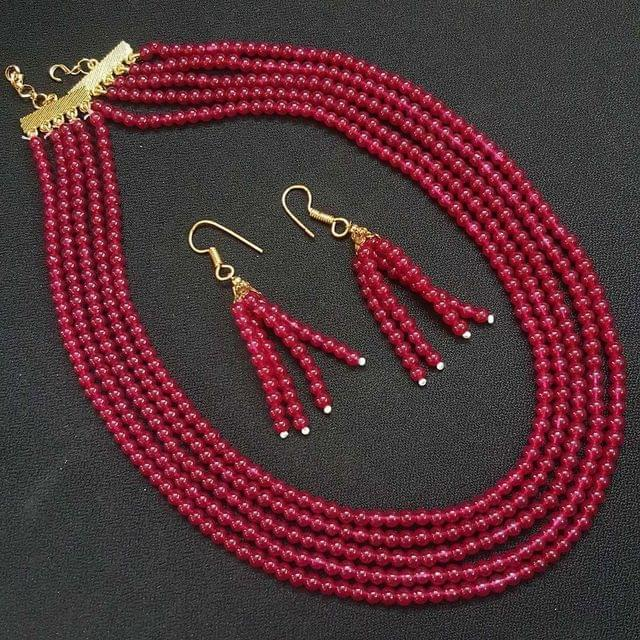 Magenta Small Beaded Five Layered Necklace With Earrings For Girls / Women