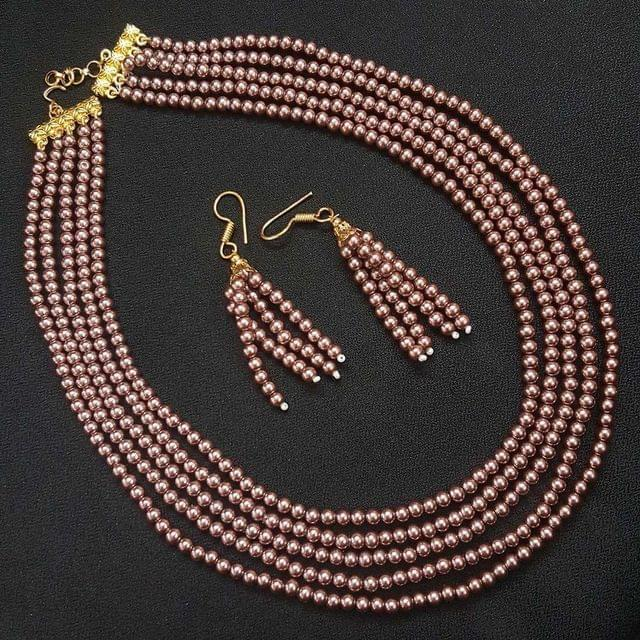Metalic Bronze Small Beaded Five Layered Necklace With Earrings For Girls / Women
