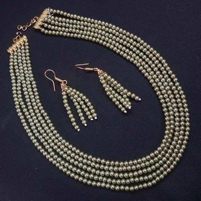 Metalic Silver Small Beaded Five Layered Necklace With Earrings For Girls / Women