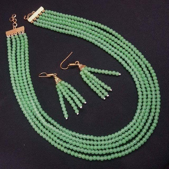 Sea Green Small Beaded Five Layered Necklace With Earrings For Girls / Women