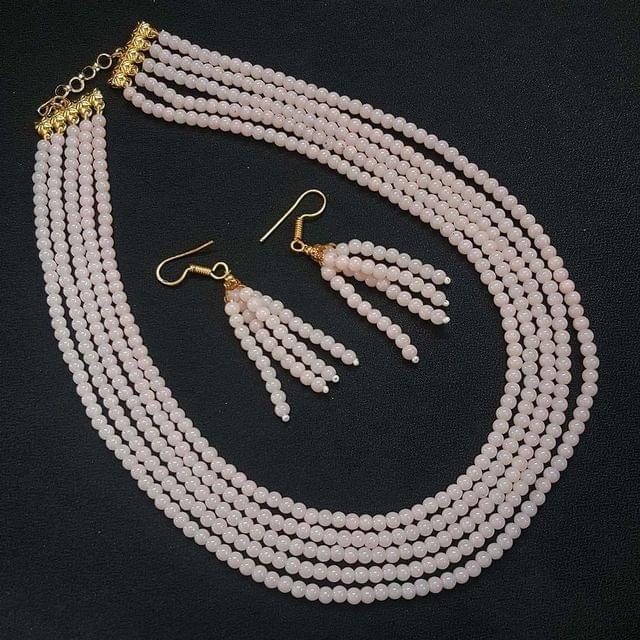 Baby Pink Small Beaded Five Layered Necklace With Earrings For Girls / Women