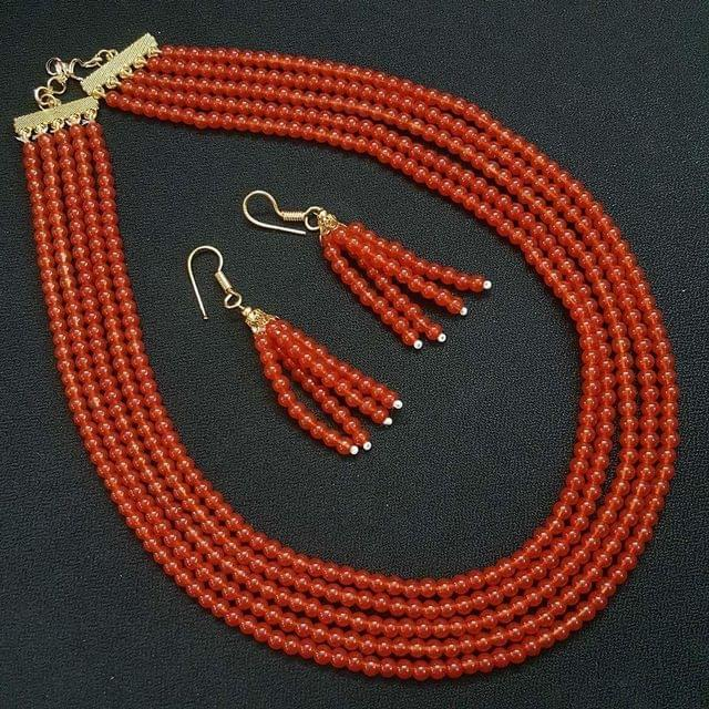 Mustard Orange Small Beaded Five Layered Necklace With Earrings For Girls / Women