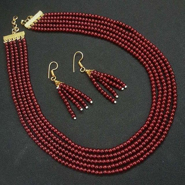 Maroon Small Beaded Five Layered Necklace With Earrings For Girls / Women