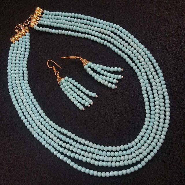 Sea Blue Small Beaded Five Layered Necklace With Earrings For Girls / Women