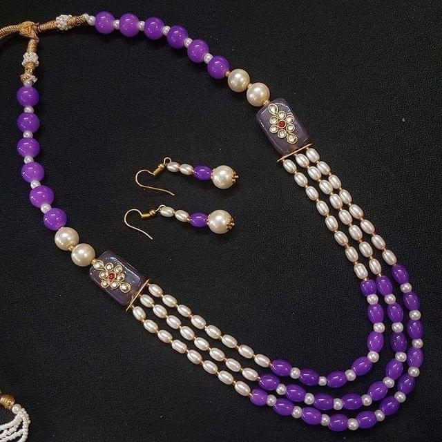 Purple Beaded With Kundan Work Kantha Necklace For Girls With Adjustable Dori