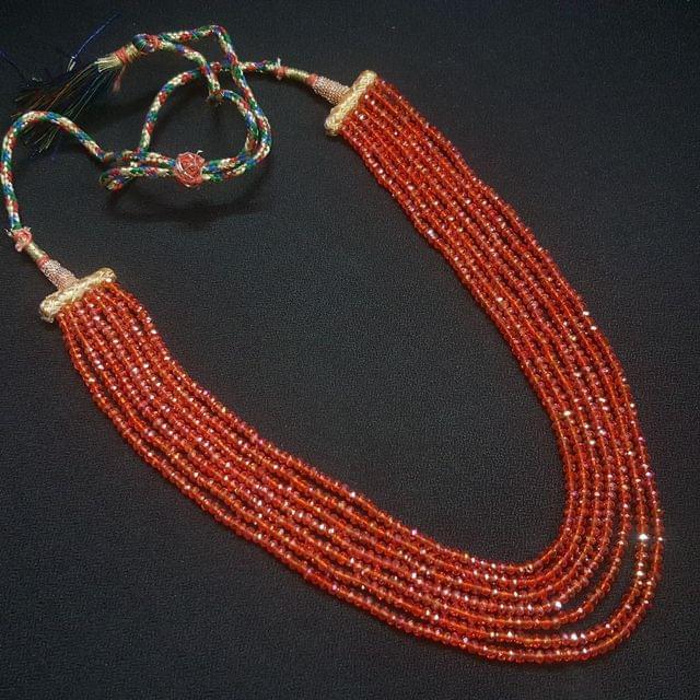 Orange Beaded Layered Necklace For Girls / Women With Adjustable Dori